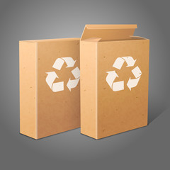 Two realistic blank craft paper packages for cornflakes, muesli