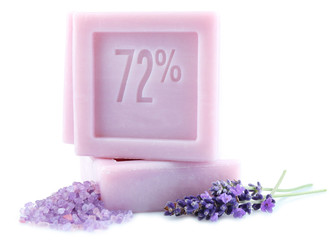 Bars of natural soap with fresh lavender and sea salt  isolated