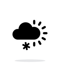 Cloudy with snow weather icon on white background.
