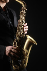 Saxophone player Saxophonist with sax alto