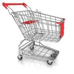 Shopping cart, isolated on white background. Side view