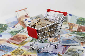 Shopping Cart Filled With Money