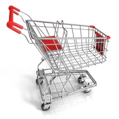 Red shopping cart, isolated on white background