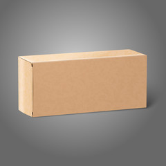 Realistic blank paper craft package box. Isolated on grey