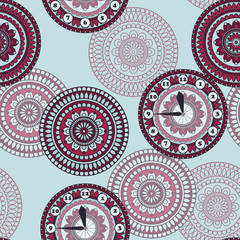 Vector Seamless Pattern with clock and rounded ornament