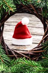 Santa's hat in Christmas setting