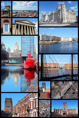 Liverpool, England. Travel photo collage.