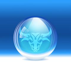 Vector snow globe with a sign Taurus
