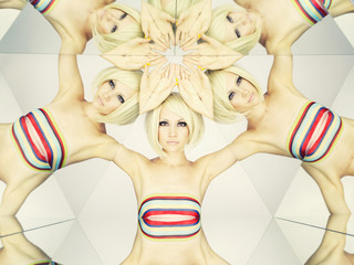 Bright blonde in kaleidoscope