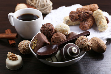 A Cup of coffee and a saucer with chocolates