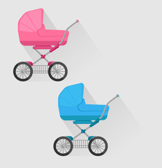 two isolated baby carriages in flat style