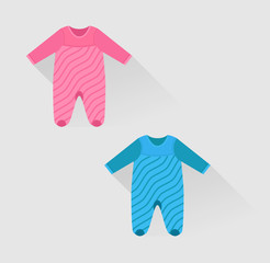 two isolated baby clothes in flat style