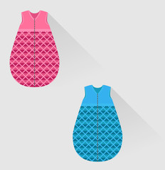 two isolated baby sleeping bags in flat style
