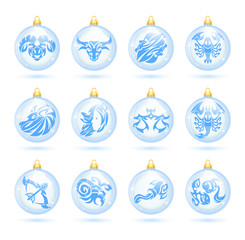 The collection of christmas decorations with zodiac signs.