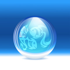 Vector snow globe with a sign Pisces