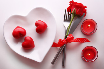 Festive table set for Valentines Day