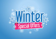 Winter Special Offers Word with Snows in Blue Background - 74686861