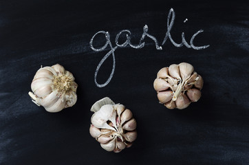 """Garlic and handwritten word """"garlic"""""""