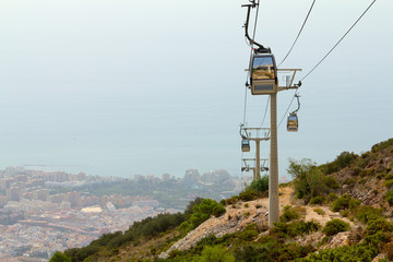 Cableway of city near sea