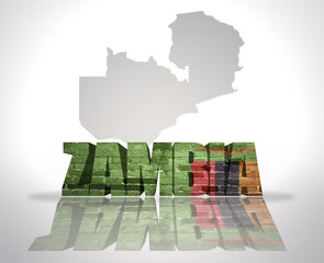 Word Zambia on a map background