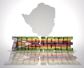 Word Zimbabwe on a map background