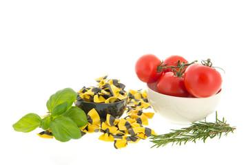 Butterflies pasta and ingredients