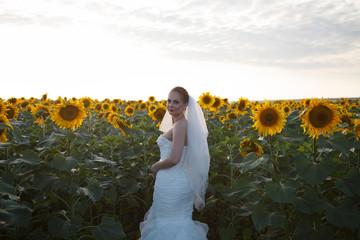 Bride alone in the field