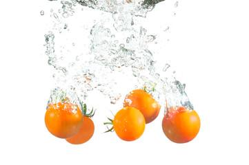 Splashing tomatoes