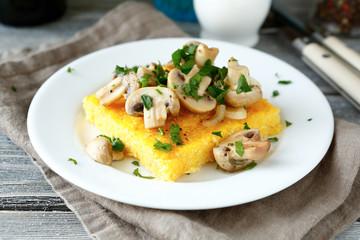 Tasty polenta with mushrooms