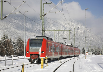 Railway station in Garmisch-Partenkirchen. Bavaria. Germany