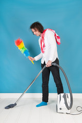 Man with cleaning equipment