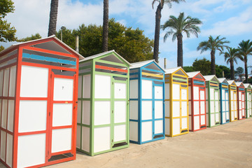 Row colorful beach huts