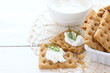Snack gluten free crackers with cream cheese and dill - 74689210
