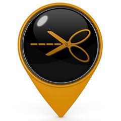 Scissors pointer icon on white background