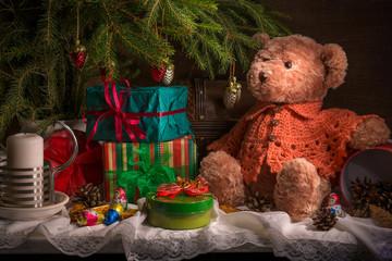 Натюрморт с елкой Новогодний Рождественский
