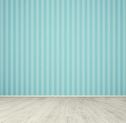 empty room with blue wallpaper