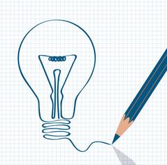 lighting bulb pencil drawing, idea concept