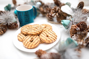 chocolate and caramel cookies with christmas decorations