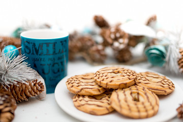 Cookies and biscuits, coffee, served as breakfast meal isolated