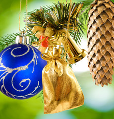 image of beautiful Christmas decorations on a green background