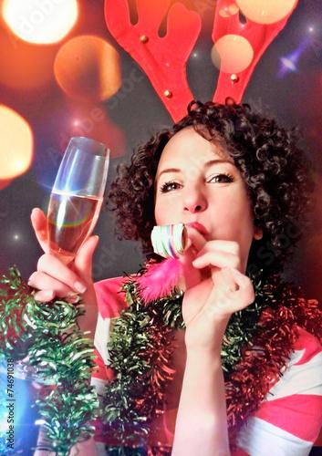 funny girl celebrating New Year's Eve - christmastime 13