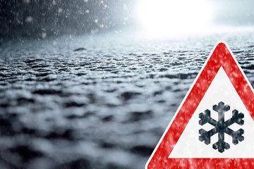 Abstract Winter Background with Warning Sign