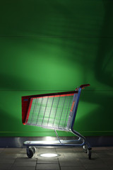 Empty shopping cart in the front of the shopping mall