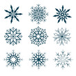Vector collection of abstract snowflakes