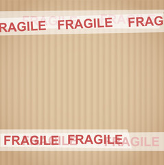 Cardboard with tape Fragile vector