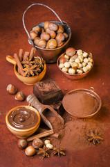 cioccolato con cacao e nocciole still life
