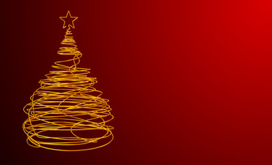 Christmas Tree Made Of Gold Wire. Red Background. Wide.