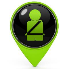 Seat belt pointer icon on white background