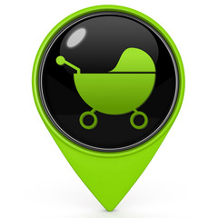 Stroller pointer icon on white background