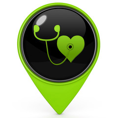 Heart pointer icon on white background